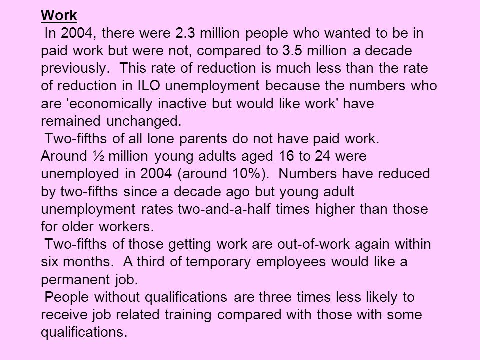 Work In 2004, there were 2.3 million people who wanted to be in paid work but were not, compared to 3.5 million a decade previously. This rate of reduction is much less than the rate of reduction in ILO unemployment because the numbers who are economically inactive but would like work have remained unchanged.
