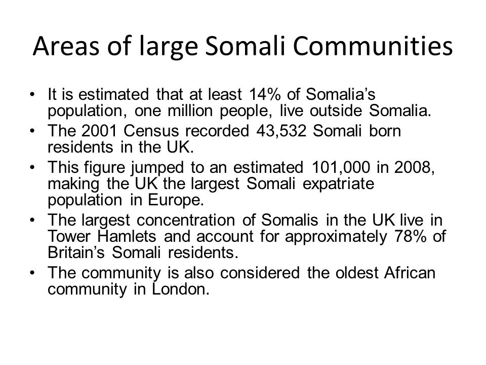 Areas of large Somali Communities