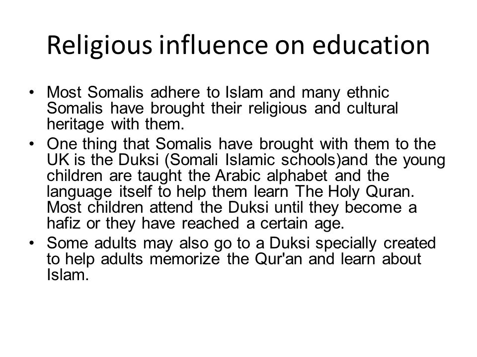 Religious influence on education