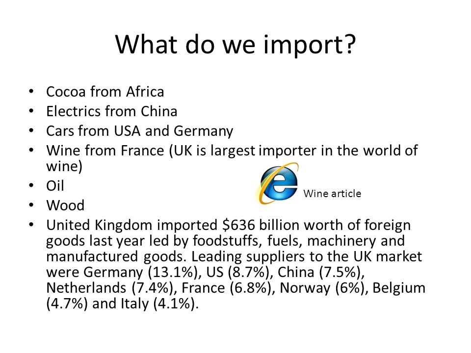 What do we import Cocoa from Africa Electrics from China