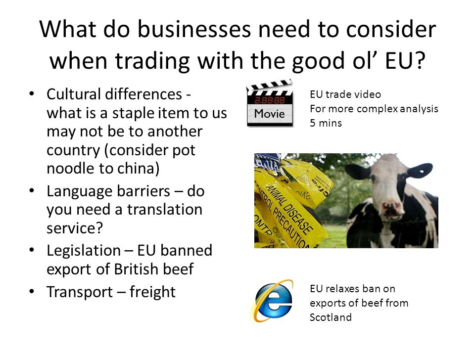 What do businesses need to consider when trading with the good ol' EU