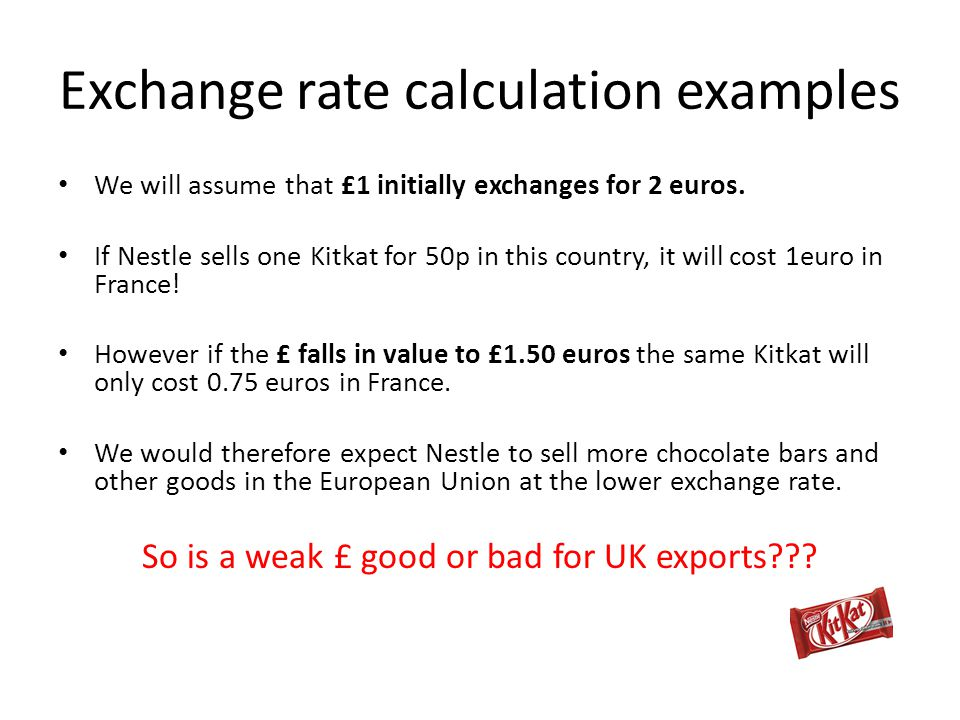 Exchange rate calculation examples