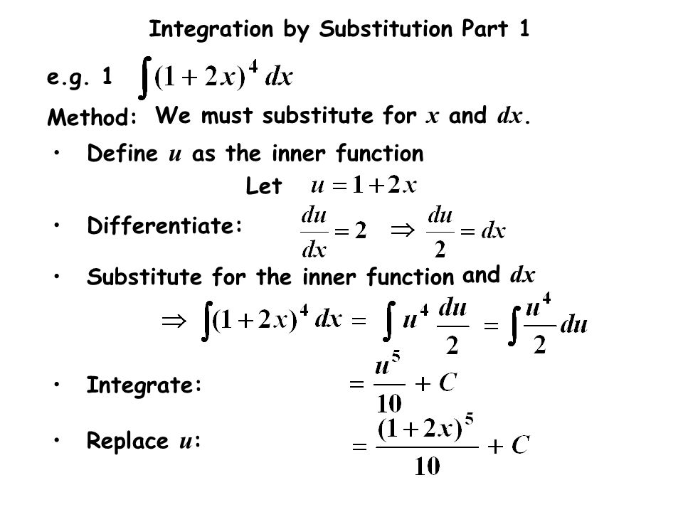 Let e.g. 1. Differentiate: Method: We must substitute for x and dx. Substitute for the inner function.