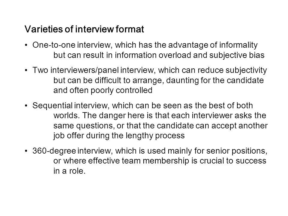 Varieties of interview format