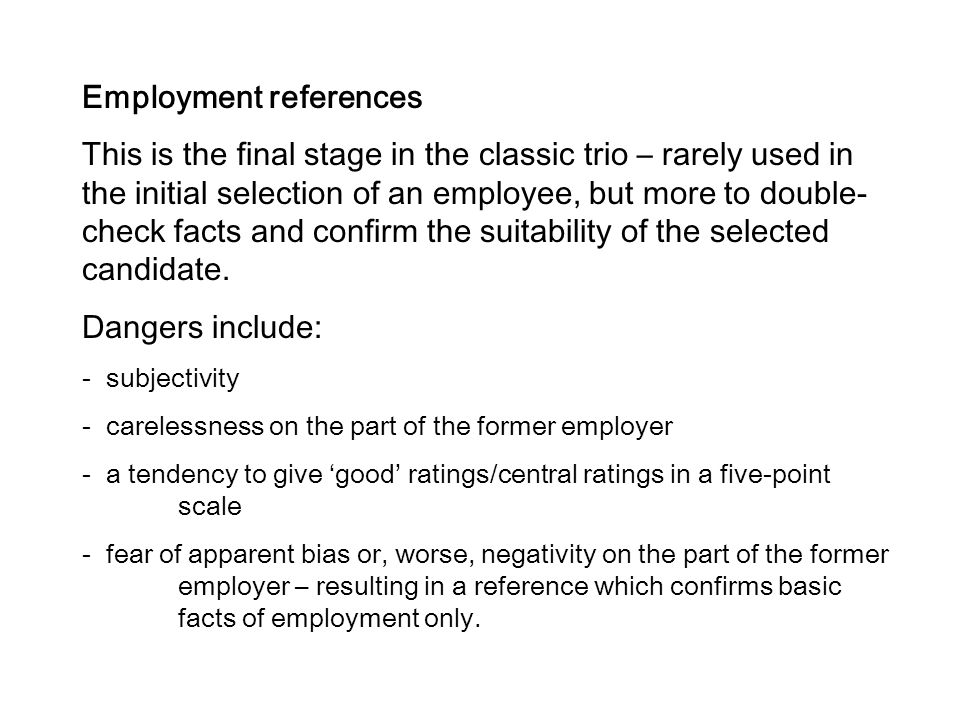Employment references