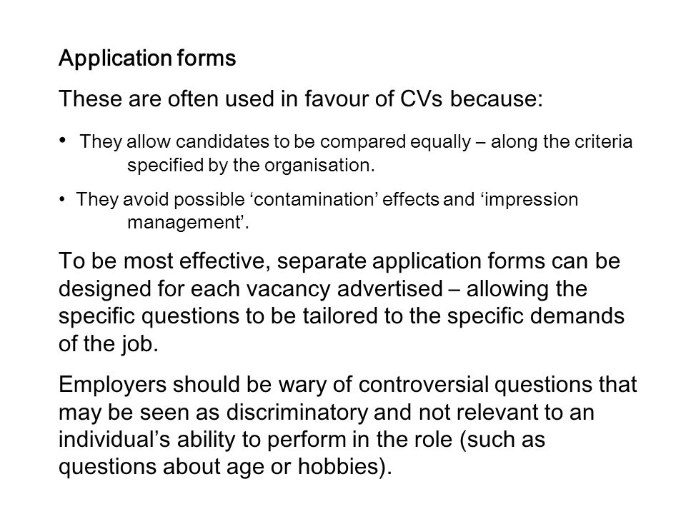 These are often used in favour of CVs because: