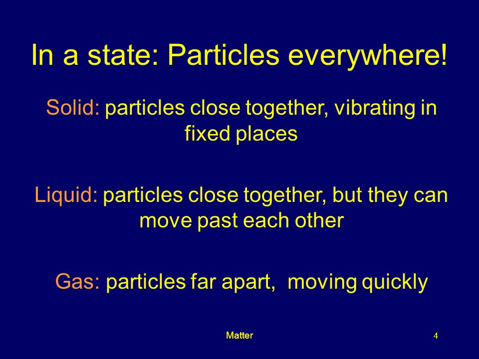 In a state: Particles everywhere!