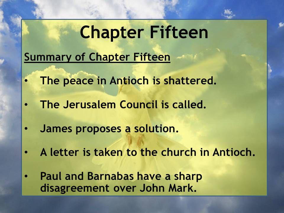 Chapter Fifteen Summary of Chapter Fifteen