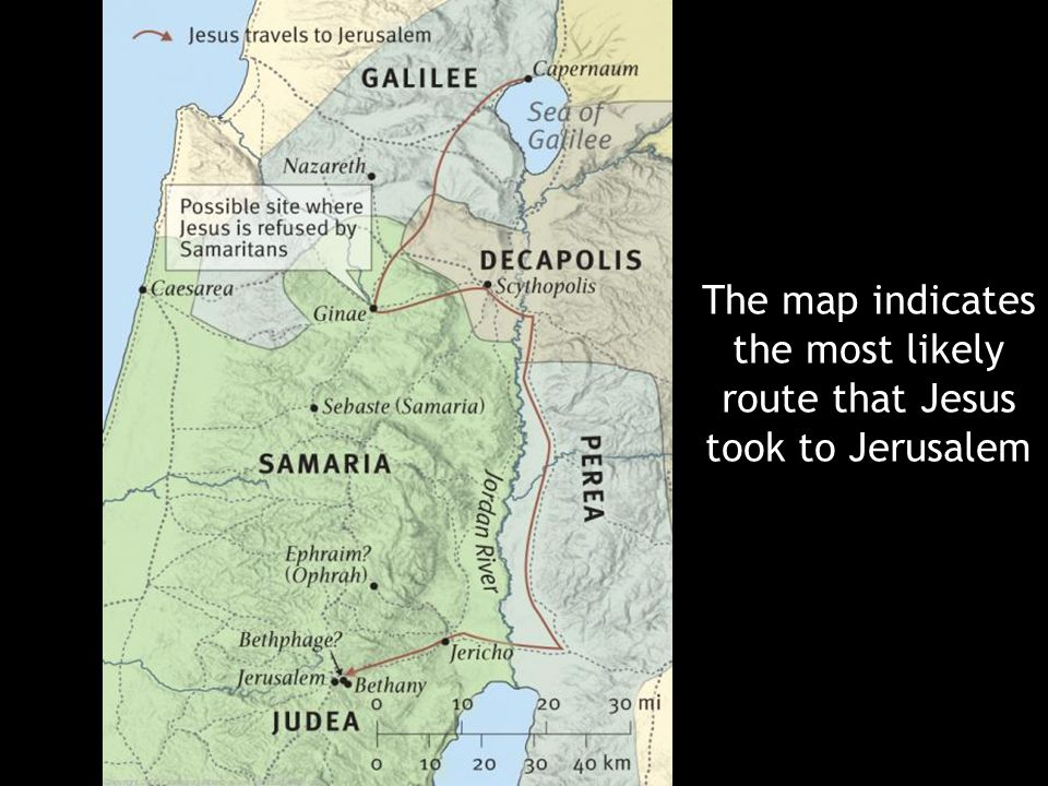 The map indicates the most likely route that Jesus took to Jerusalem