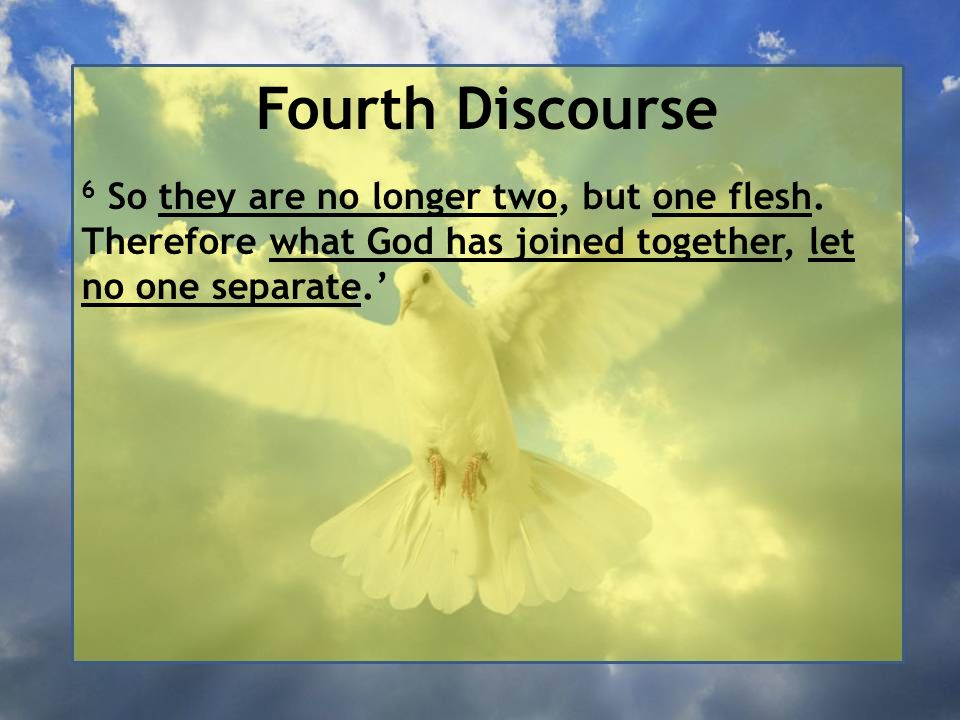 Fourth Discourse 6 So they are no longer two, but one flesh.