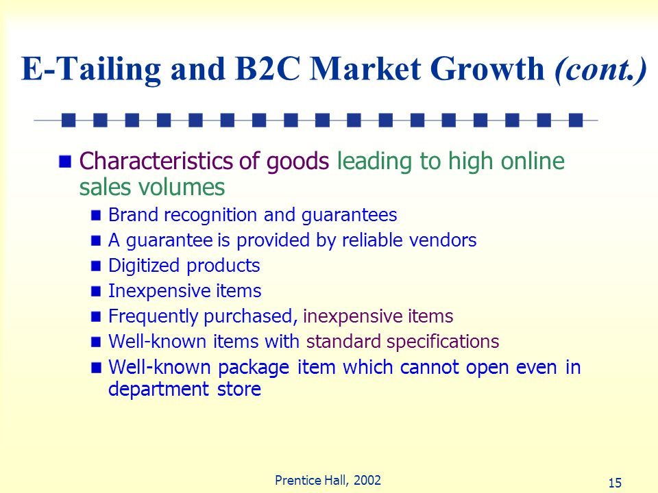 E-Tailing and B2C Market Growth (cont.)
