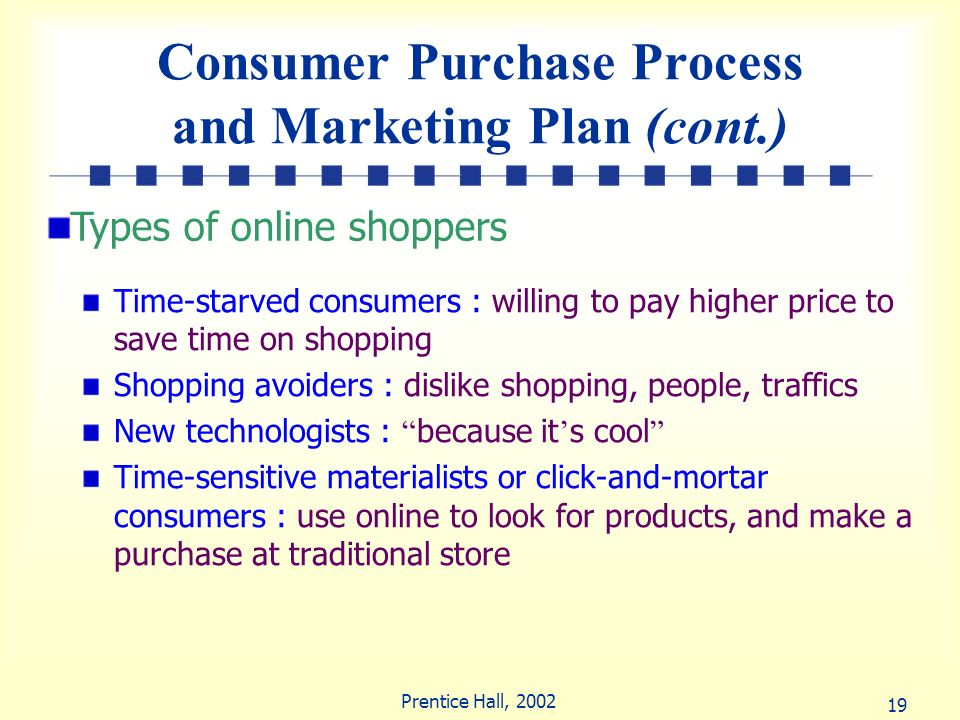 Consumer Purchase Process and Marketing Plan (cont.)