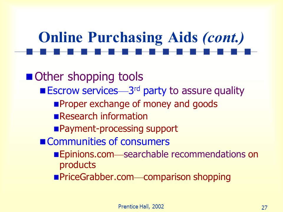 Online Purchasing Aids (cont.)
