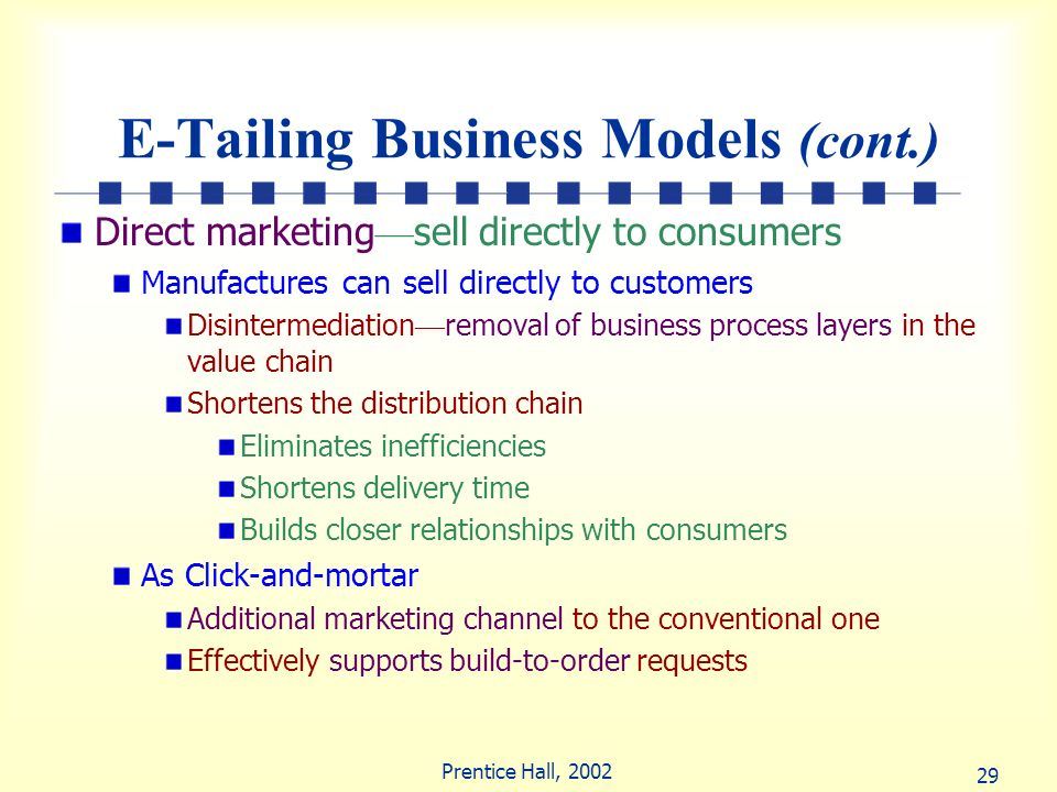 E-Tailing Business Models (cont.)