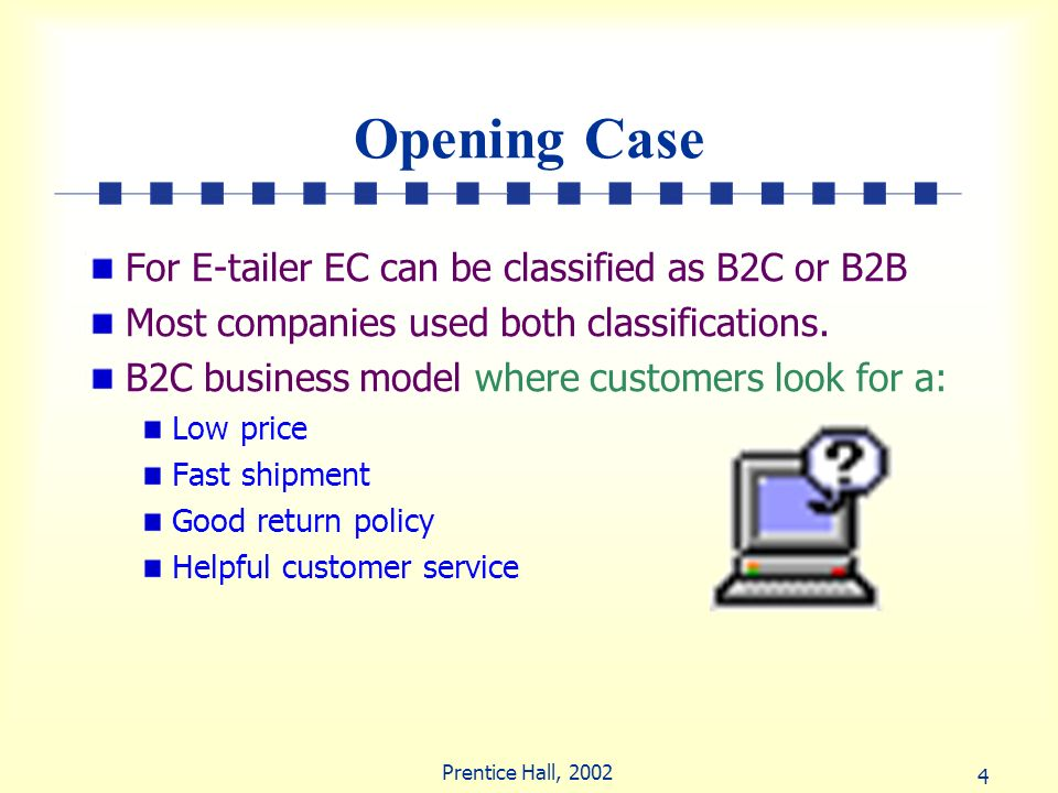 Opening Case For E-tailer EC can be classified as B2C or B2B