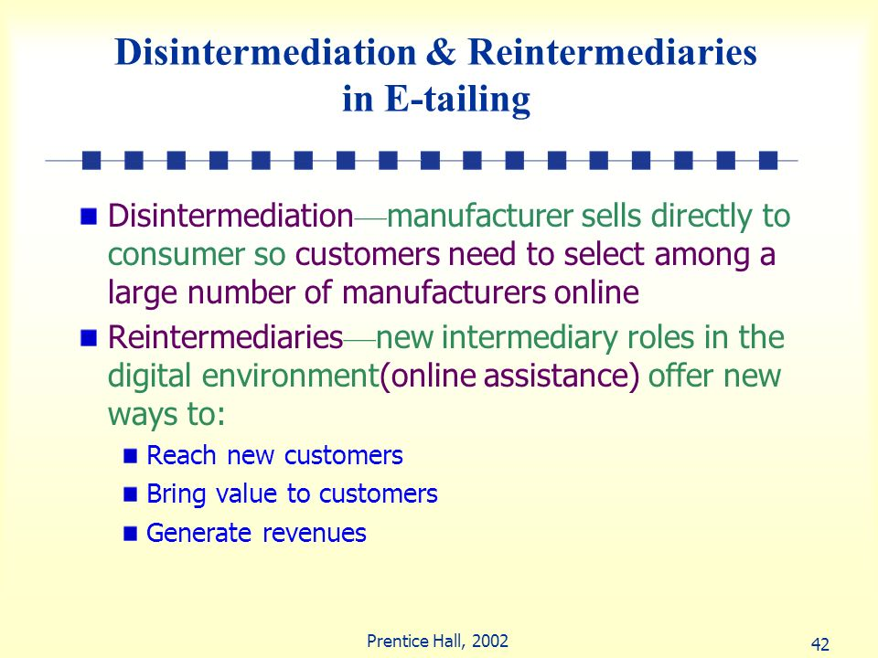 Disintermediation & Reintermediaries in E-tailing