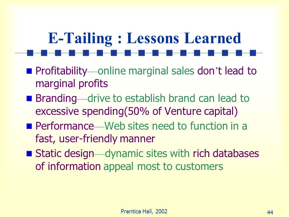 E-Tailing : Lessons Learned