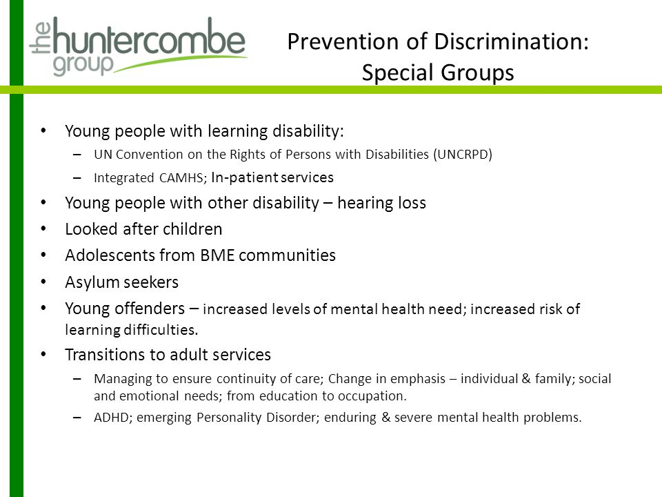 Prevention of Discrimination: Special Groups