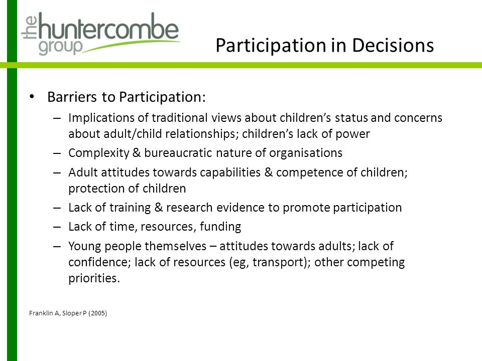 Participation in Decisions