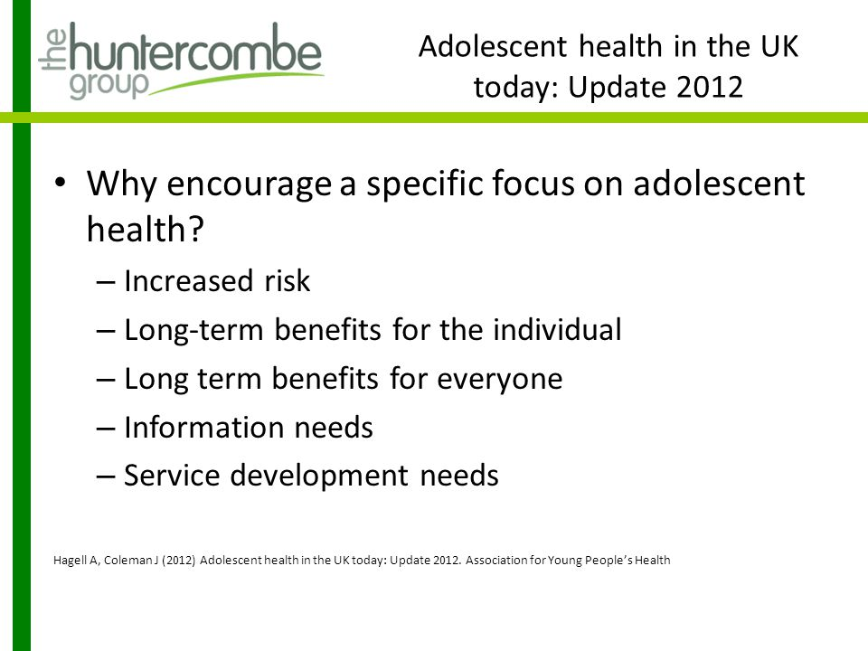 Adolescent health in the UK today: Update 2012