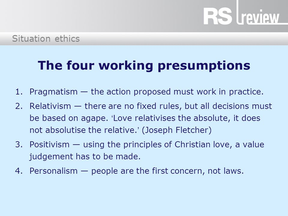 The four working presumptions