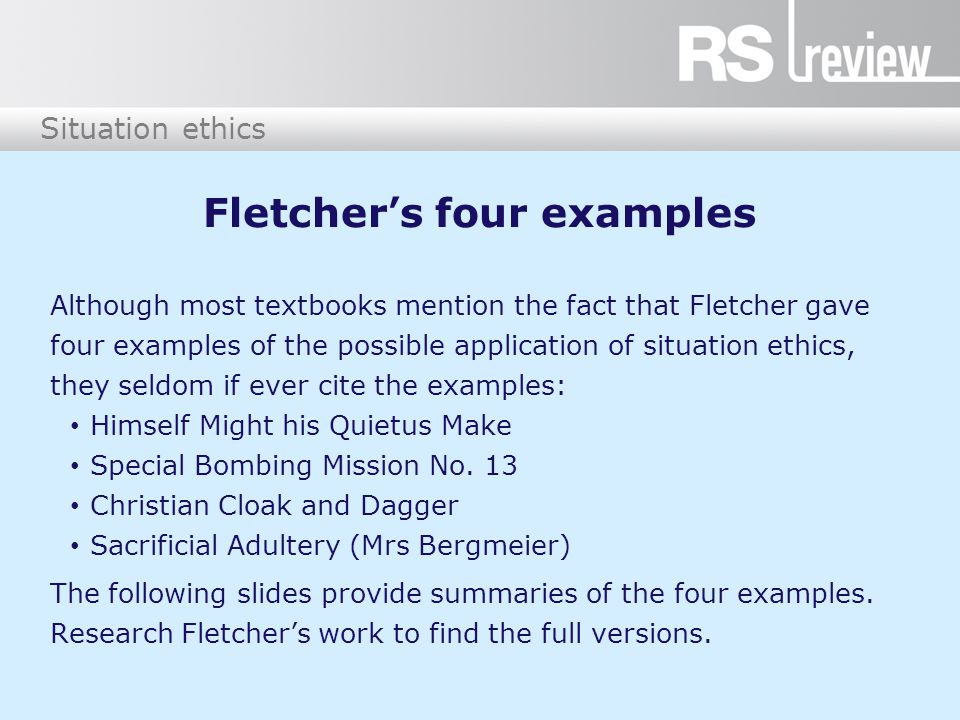Fletcher's four examples