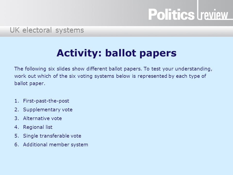 Activity: ballot papers