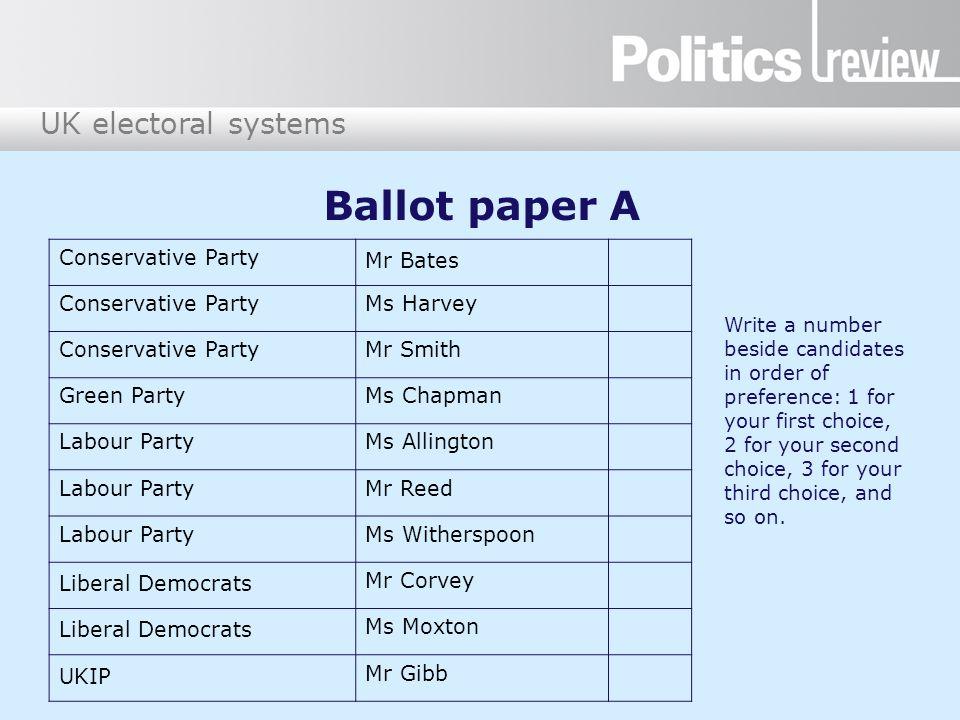 Ballot paper A Conservative Party Mr Bates Ms Harvey Mr Smith