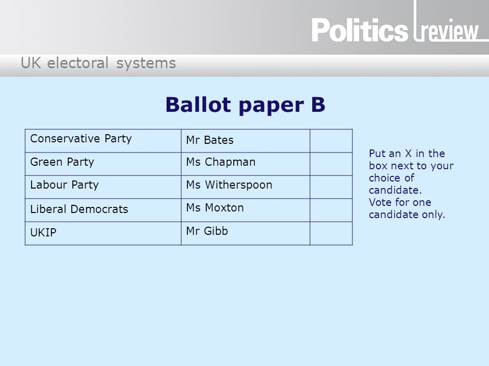 Ballot paper B Conservative Party Mr Bates Green Party Ms Chapman