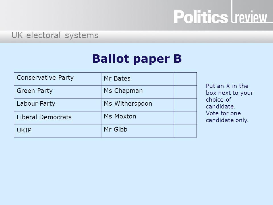Ballot paper B Conservative Party Mr Bates Green Party Ms Chapman