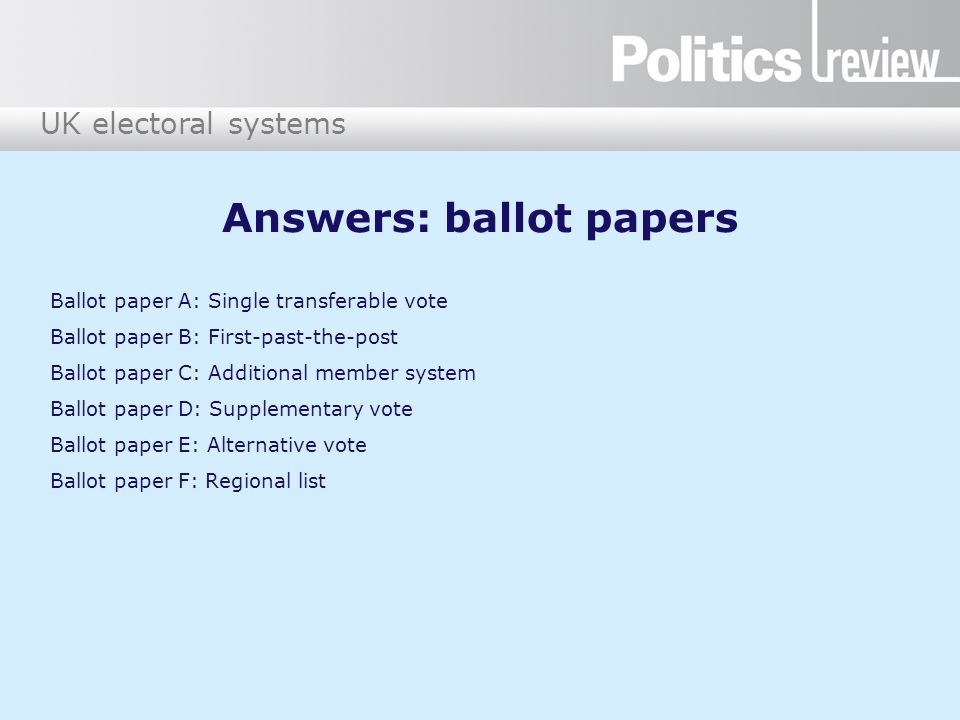 Answers: ballot papers