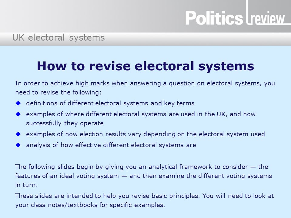 How to revise electoral systems