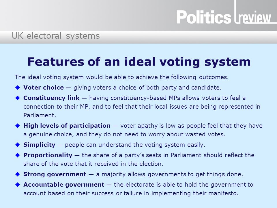 Features of an ideal voting system