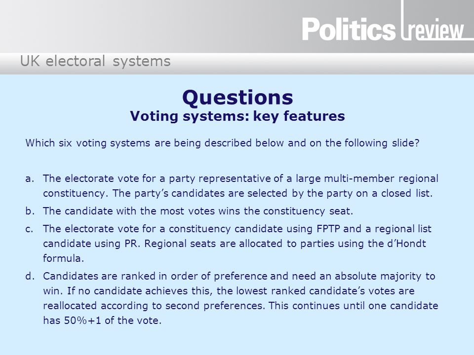 Questions Voting systems: key features