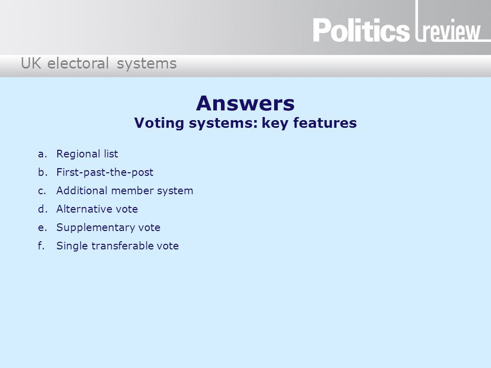 Answers Voting systems: key features