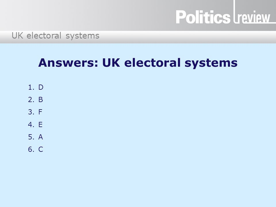Answers: UK electoral systems