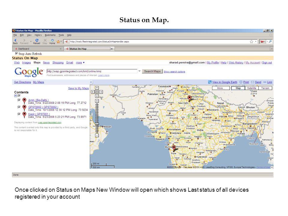 Status on Map.