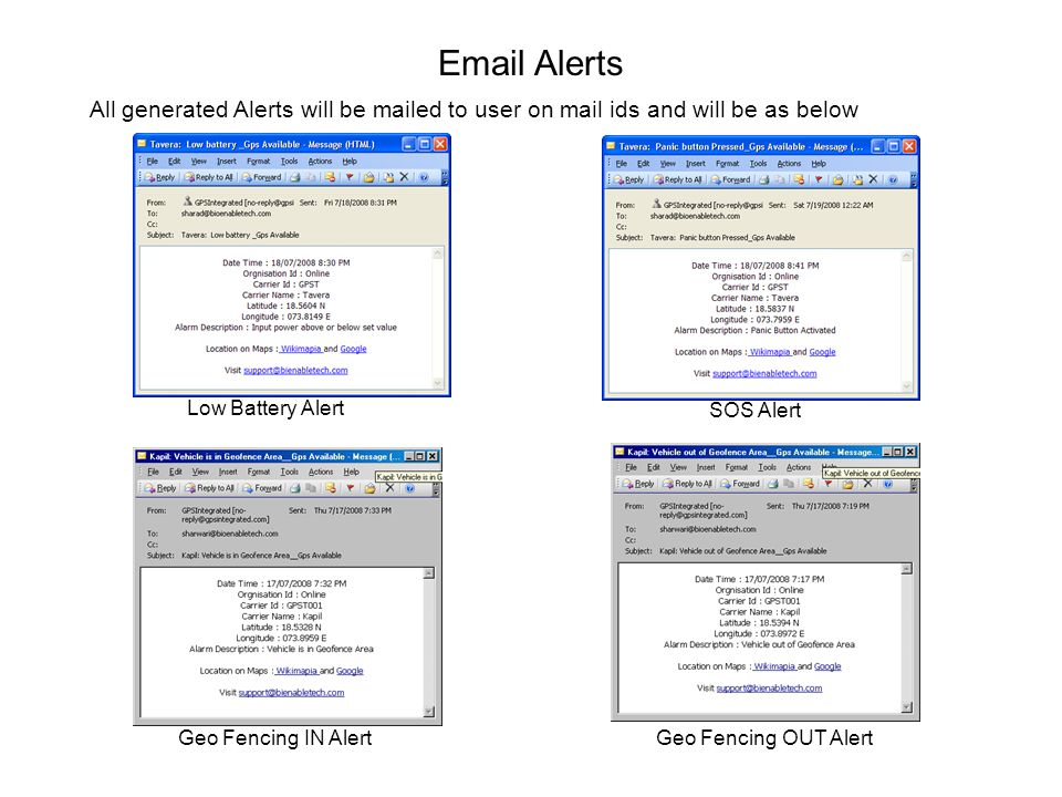 Alerts All generated Alerts will be mailed to user on mail ids and will be as below. Low Battery Alert.
