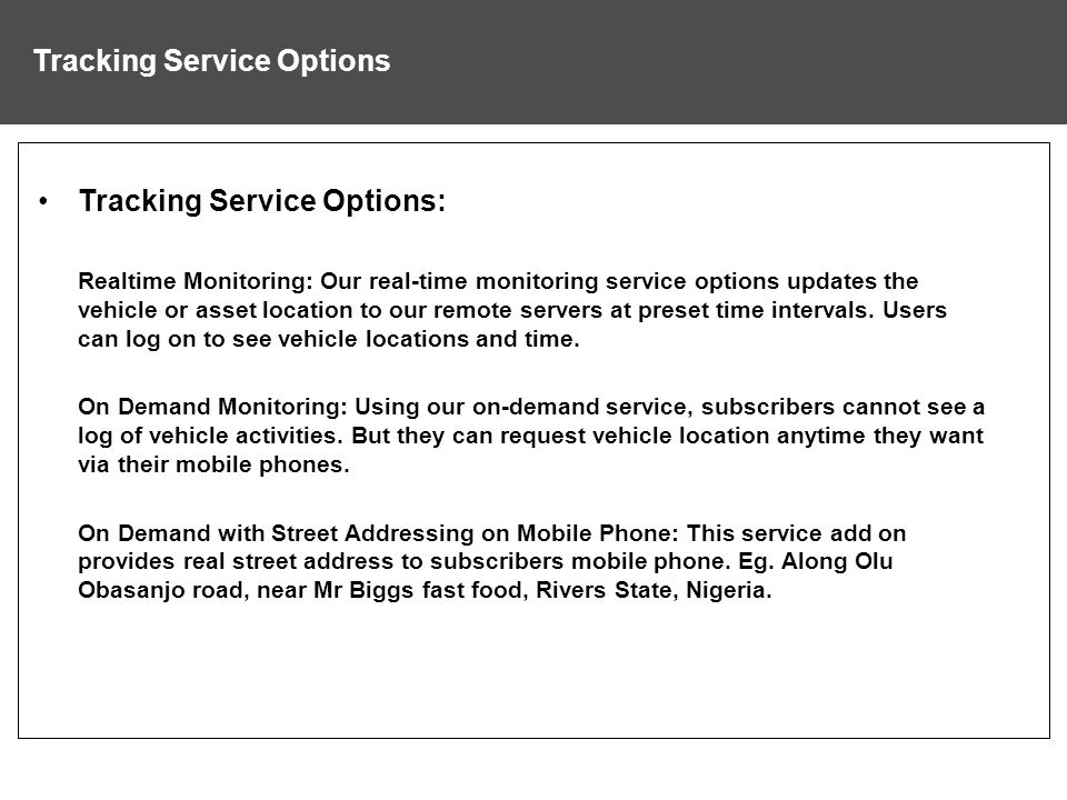 Tracking Service Options