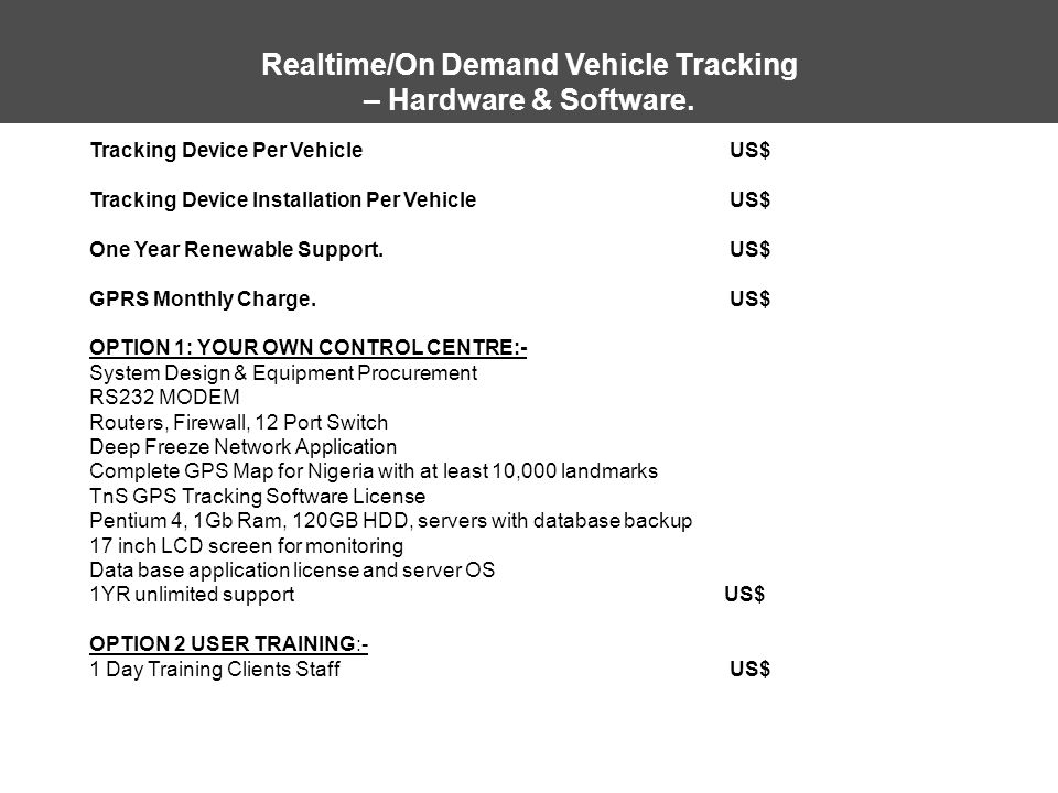 Realtime/On Demand Vehicle Tracking – Hardware & Software.