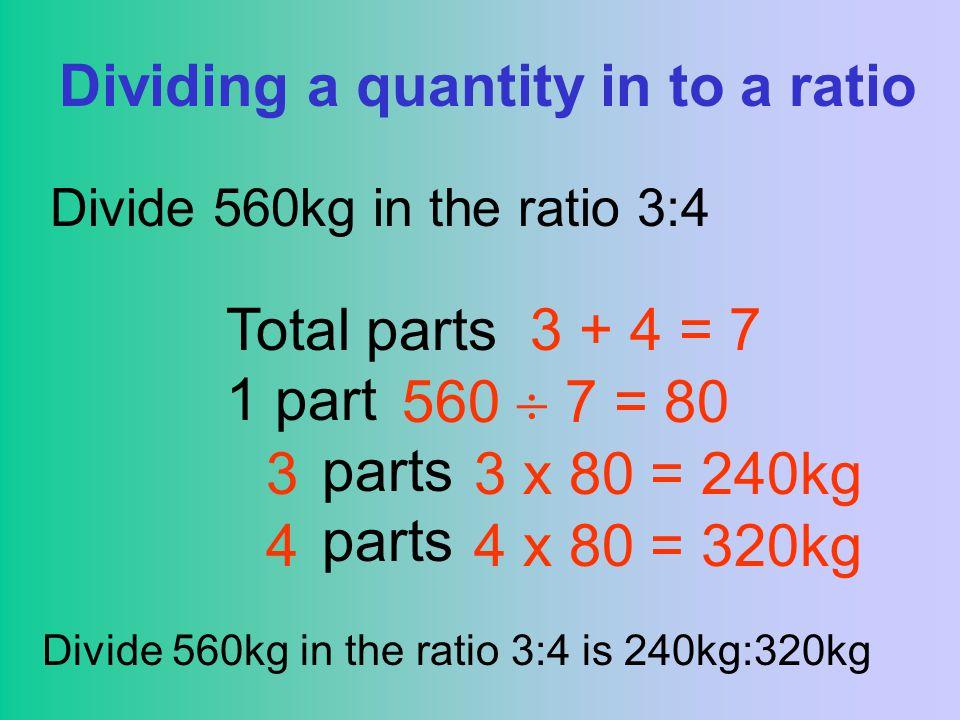 Dividing a quantity in to a ratio