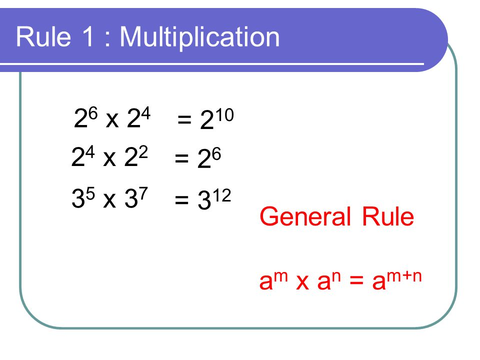 Rule 1 : Multiplication 26 x 24 = 210 24 x 22 = 26 35 x 37 = 312