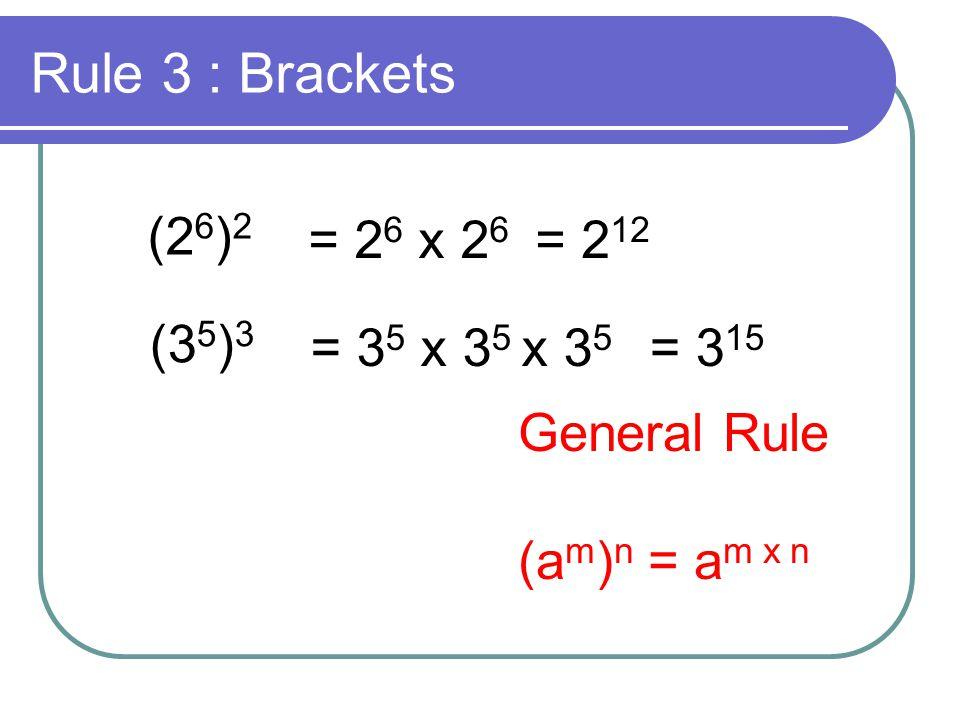 Rule 3 : Brackets (26)2 = 26 x 26 = 212 (35)3 = 35 x 35 x 35 = 315