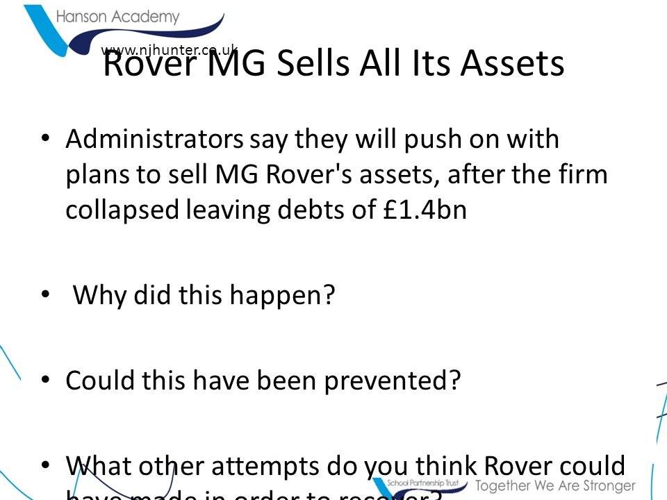 Rover MG Sells All Its Assets