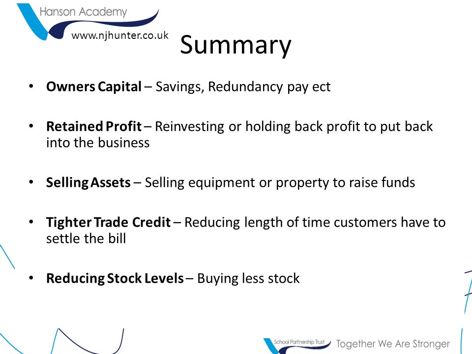 Summary Owners Capital – Savings, Redundancy pay ect