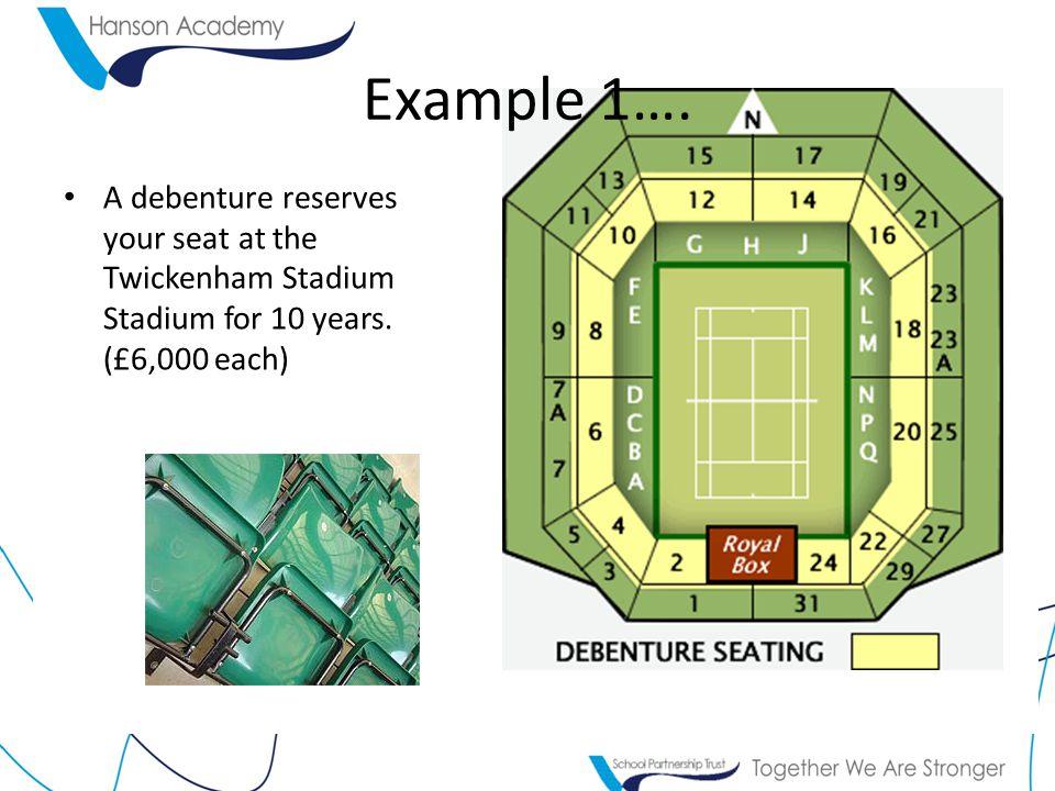 Example 1…. A debenture reserves your seat at the Twickenham Stadium Stadium for 10 years.