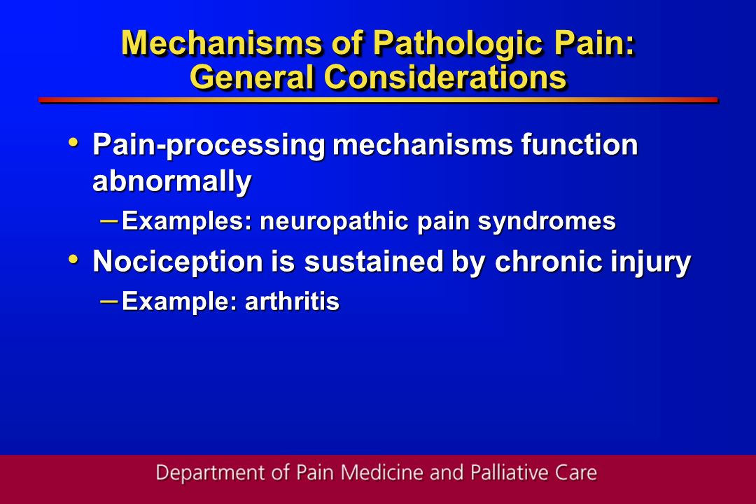 Mechanisms of Pathologic Pain: General Considerations