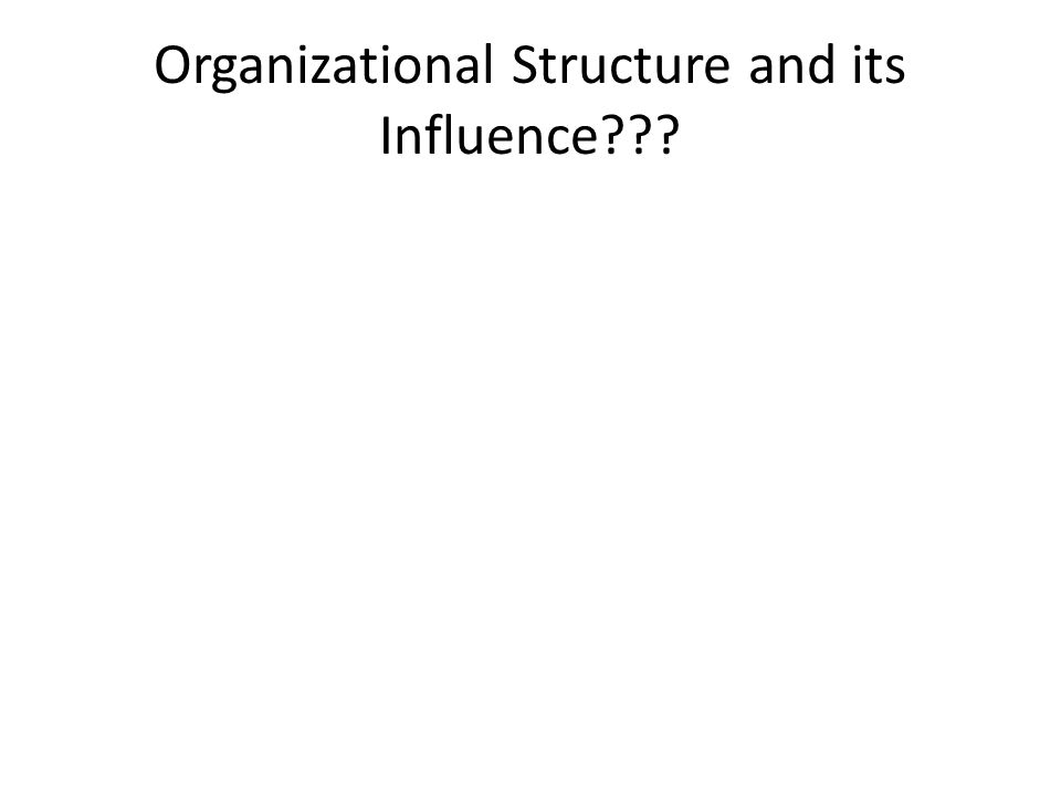 Organizational Structure and its Influence