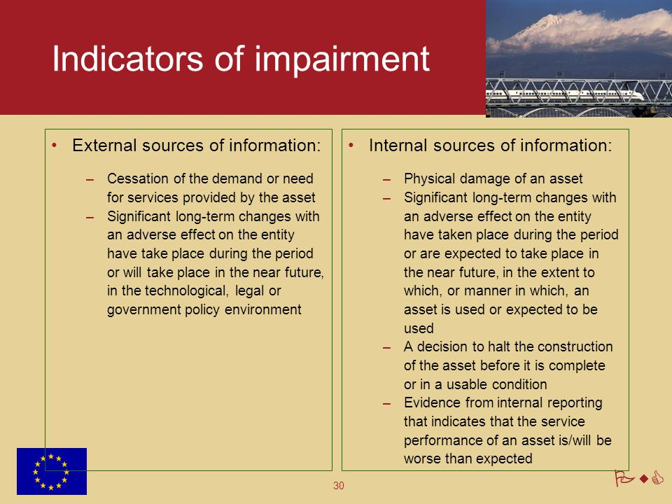 Indicators of impairment