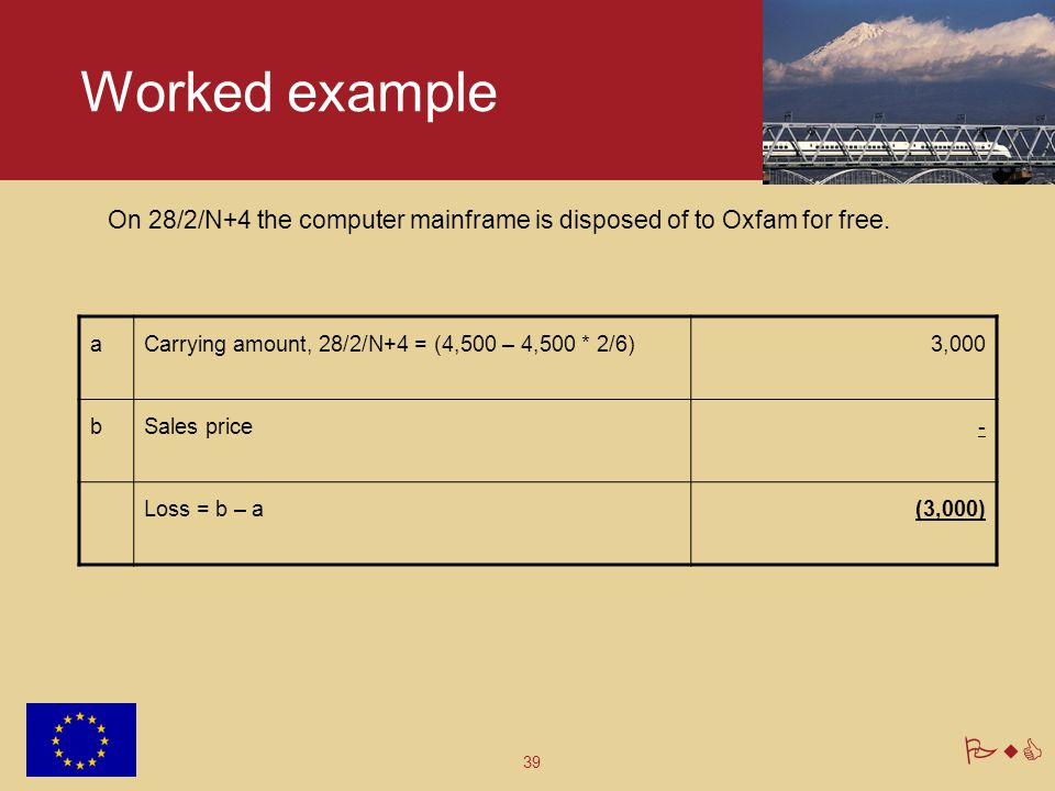 Worked example On 28/2/N+4 the computer mainframe is disposed of to Oxfam for free. a. Carrying amount, 28/2/N+4 = (4,500 – 4,500 * 2/6)